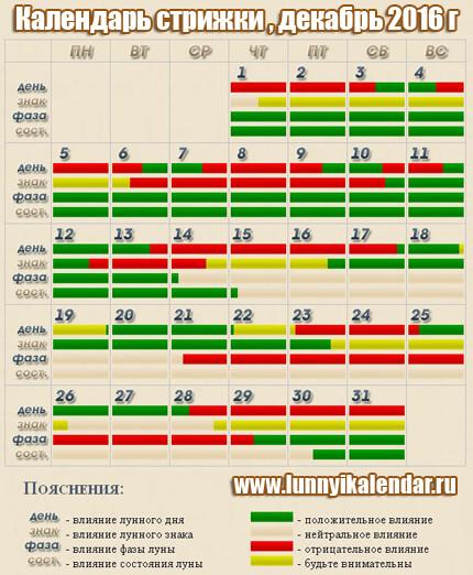 Календарь стрижки